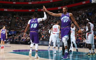 MINNEAPOLIS, MN -  OCTOBER 30: Mike Conley #10 and Rudy Gobert #27 of the Utah Jazz hi-five during a game against the LA Clippers on October 30, 2019 at Target Center in Minneapolis, Minnesota. NOTE TO USER: User expressly acknowledges and agrees that, by downloading and or using this Photograph, user is consenting to the terms and conditions of the Getty Images License Agreement. Mandatory Copyright Notice: Copyright 2019 NBAE (Photo by David Sherman/NBAE via Getty Images)