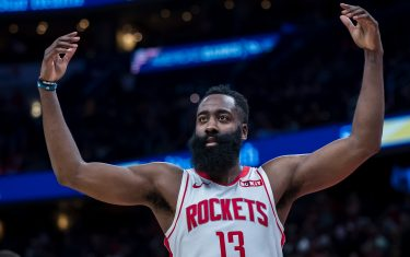 WASHINGTON, DC - OCTOBER 30: James Harden #13 of the Houston Rockets gestures during the second half against the Washington Wizards at Capital One Arena on October 30, 2019 in Washington, DC. NOTE TO USER: User expressly acknowledges and agrees that, by downloading and or using this photograph, User is consenting to the terms and conditions of the Getty Images License Agreement. (Photo by Scott Taetsch/Getty Images)