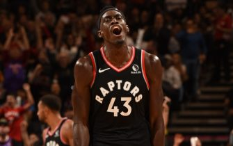TORONTO, CANADA - OCTOBER 30: Pascal Siakam #43 of the Toronto Raptors reacts to a play against the Detroit Pistons on October 30, 2019 at the Scotiabank Arena in Toronto, Ontario, Canada.  NOTE TO USER: User expressly acknowledges and agrees that, by downloading and or using this Photograph, user is consenting to the terms and conditions of the Getty Images License Agreement.  Mandatory Copyright Notice: Copyright 2019 NBAE (Photo by Ron Turenne/NBAE via Getty Images)