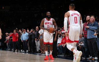 WASHINGTON, DC -  OCTOBER 30: James Harden #13 of the Houston Rockets and Russell Westbrook #0 of the Houston Rockets react to win against the Washington Wizards on October 30, 2019 at Capital One Arena in Washington, DC. NOTE TO USER: User expressly acknowledges and agrees that, by downloading and or using this Photograph, user is consenting to the terms and conditions of the Getty Images License Agreement. Mandatory Copyright Notice: Copyright 2019 NBAE (Photo by Ned Dishman/NBAE via Getty Images)