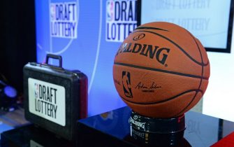 NEW YORK, NEW YORK - MAY 16: A general view of the Official @NBA Spalding Basketball inside the lottery room during the 2017 NBA Draft Lottery at the New York Hilton in New York, New York. NOTE TO USER: User expressly acknowledges and agrees that, by downloading and or using this Photograph, user is consenting to the terms and conditions of the Getty Images License Agreement.  Mandatory Copyright Notice: Copyright 2017 NBAE (Photo by Jennifer Pottheiser/NBAE via Getty Images)