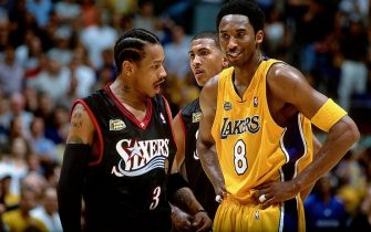 LOS ANGELES - 2001:  Allen Iverson #3 of the Philadelphia 76ers chats with Kobe Bryant #8 of the Los Angeles Lakers during a 2001 NBA game at the Staples Center in Los Angeles. NOTE TO USER: User expressly acknowledges that, by downloading and or using this photograph, User is consenting to the terms and conditions of the Getty Images License agreement. Mandatory Copyright Notice: Copyright 2001 NBAE (Photo by Andrew D. Bernstein/NBAE via Getty Images)