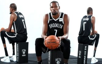 BROOKLYN, NY - SEPTEMBER 27: Kevin Durant #7 of the Brooklyn Nets poses for a portrait during media day on September 27, 2019 at the HSS Training Center in Brooklyn, New York. NOTE TO USER: User expressly acknowledges and agrees that, by downloading and/or using this photograph, user is consenting to the terms and conditions of the Getty Images License Agreement. Mandatory Copyright Notice: Copyright 2019 NBAE (Photo by Nathaniel S. Butler/NBAE via Getty Images)