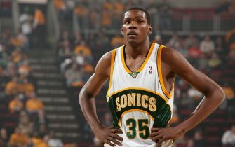 SEATTLE - NOVEMBER 01:  Kevin Durant #35 of the Seattle SuperSonics looks on during the game against the Phoenix Suns at Key Arena on November 1, 2007 in Seattle, Washington.  The Suns won 106-99. NOTE TO USER: User expressly acknowledges and agrees that, by downloading and/or using this Photograph, user is consenting to the terms and conditions of the Getty Images License Agreement. Mandatory Copyright Notice: Copyright 2007 NBAE (Photo by Garrett Ellwood/NBAE via Getty Images)