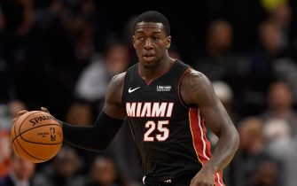 MINNEAPOLIS, MINNESOTA - OCTOBER 27: Kendrick Nunn #25 of the Miami Heat dribbles the ball against the Minnesota Timberwolves during the first quarter of the home opener at Target Center on October 27, 2019 in Minneapolis, Minnesota. NOTE TO USER: User expressly acknowledges and agrees that, by downloading and or using this Photograph, user is consenting to the terms and conditions of the Getty Images License Agreement. (Photo by Hannah Foslien/Getty Images)