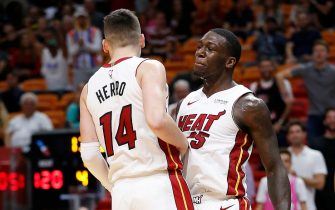 MIAMI, FLORIDA - OCTOBER 23:  Tyler Herro #14 and Kendrick Nunn #25 of the Miami Heat celebrate after a dunk against the Memphis Grizzlies during the second half at American Airlines Arena on October 23, 2019 in Miami, Florida. NOTE TO USER: User expressly acknowledges and agrees that, by downloading and/or using this photograph, user is consenting to the terms and conditions of the Getty Images License Agreement. (Photo by Michael Reaves/Getty Images)