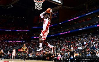 ATLANTA, GA - OCTOBER 31: Kendrick Nunn #25 of the Miami Heat dunks the ball against the Atlanta Hawks on October 31, 2019 at State Farm Arena in Atlanta, Georgia.  NOTE TO USER: User expressly acknowledges and agrees that, by downloading and/or using this Photograph, user is consenting to the terms and conditions of the Getty Images License Agreement. Mandatory Copyright Notice: Copyright 2019 NBAE (Photo by Scott Cunningham/NBAE via Getty Images)