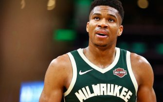 BOSTON, MA - OCTOBER 30:  Giannis Antetokounmpo #34 of the Milwaukee Bucks looks on during a game against the Boston Celtics at TD Garden on October 30, 2019 in Boston, Massachusetts. NOTE TO USER: User expressly acknowledges and agrees that, by downloading and or using this photograph, User is consenting to the terms and conditions of the Getty Images License Agreement. (Photo by Adam Glanzman/Getty Images)