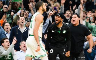 BOSTON, MA - NOVEMBER 1: Fans react after Jayson Tatum #0 of the Boston Celtics hit the game winning shot against the New York Knicks in the second half at TD Garden on November 1, 2019 in Boston, Massachusetts. NOTE TO USER: User expressly acknowledges and agrees that, by downloading and or using this photograph, User is consenting to the terms and conditions of the Getty Images License Agreement. (Photo by Kathryn Riley/Getty Images) *** Local Caption *** Jayson Tatum
