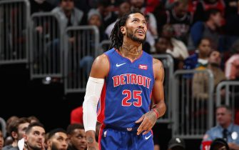 CHICAGO, IL - NOVEMBER 1: Derrick Rose #25 of the Detroit Pistons looks on against the Chicago Bulls on November 1, 2019 at the United Center in Chicago, Illinois. NOTE TO USER: User expressly acknowledges and agrees that, by downloading and or using this photograph, user is consenting to the terms and conditions of the Getty Images License Agreement. Mandatory Copyright Notice: Copyright 2019 NBAE (Photo by Gary Dineen/NBAE via Getty Images)