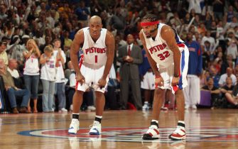 AUBURN HILLS, MI - MAY 31:  Chauncey Billups #1 and Richard Hamilton #32 of the Detroit Pistons wait on defense for play to resume in game five of the Eastern Conference Finals against the Miami Heat during the 2006 NBA Playoffs at The Palace of Auburn Hills on May 31, 2006 in Auburn Hills, Michigan.  The Pistons won 91-78.  NOTE TO USER: User expressly acknowledges and agrees that, by downloading and/or using this photograph, User is consenting to the terms and conditions of the Getty Images License Agreement.  Mandatory Copyright Notice: Copyright 2006 NBAE (Photo by D. Lippitt/Einstein/NBAE via Getty Images)