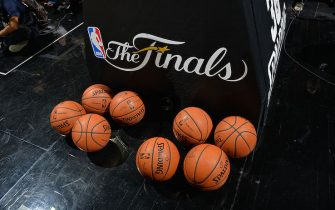 SAN ANTONIO, TX - JUNE 15: A generic view of the Finals logo in the game of the Miami Heat against the San Antonio Spurs during Game Five of the 2014 NBA Finals on June 15, 2014 at AT&T Center in San Antonio, Texas. NOTE TO USER: User expressly acknowledges and agrees that, by downloading and or using this photograph, User is consenting to the terms and conditions of the Getty Images License Agreement. Mandatory Copyright Notice: Copyright 2014 NBAE (Photo by Jesse D. Garrabrant/NBAE via Getty Images)