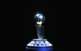 TORONTO, ON - OCTOBER 22:  The Larry O'Brien Championship Trophy sits on a pedestal with the championship rings prior to the Toronto Raptors Ring Ceremony and NBA game against New Orleans Pelicans at Scotiabank Arena on October 22, 2019 in Toronto, Canada.  NOTE TO USER: User expressly acknowledges and agrees that, by downloading and or using this photograph, User is consenting to the terms and conditions of the Getty Images License Agreement.  (Photo by Vaughn Ridley/Getty Images)