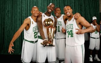 BOSTON - JUNE 17:  (L-R) Ray Allen #20, Kevin Garnett #5, James Posey #41 and Paul Pierce #34  of the Boston Celtics poses for a portrait with the Larry O'Brien trophy after defeating the Los Angeles Lakers in Game Six of the 2008 NBA Finals on June 17, 2008 at TD Banknorth Garden in Boston, Massachusetts. The Boston Celtics won 131-92. NOTE TO USER:User expressly acknowledges and agrees that, by downloading and/or using this Photograph, user is consenting to the terms and conditions of the Getty Images License Agreement. Mandatory Copyright Notice: Copyright 2008 NBAE (Photo by Nathaniel S. Butler/NBAE via Getty Images)