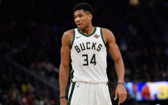 MILWAUKEE, WISCONSIN - NOVEMBER 24: Giannis Antetokounmpo #34 of the Milwaukee Bucks during the game against the San Antonio Spurs at Fiserv Forum on November 24, 2018 in Milwaukee, Wisconsin.  NOTE TO USER: User expressly acknowledges and agrees that, by downloading and or using this photograph, User is consenting to the terms and conditions of the Getty Images License Agreement. (Photo by Quinn Harris/Getty Images)