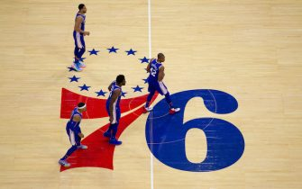 PHILADELPHIA, PA - OCTOBER 23: Ben Simmons #25, Al Horford #42, Joel Embiid #21, and Tobias Harris #12 of the Philadelphia 76ers in action against the Boston Celtics at the Wells Fargo Center on October 23, 2019 in Philadelphia, Pennsylvania. NOTE TO USER: User expressly acknowledges and agrees that, by downloading and or using this photograph, User is consenting to the terms and conditions of the Getty Images License Agreement. (Photo by Mitchell Leff/Getty Images)