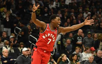 MILWAUKEE, WISCONSIN - NOVEMBER 02:  Kyle Lowry #7 of the Toronto Raptors reacts to a shot during the second half of a game against the Milwaukee Bucks at Fiserv Forum on November 02, 2019 in Milwaukee, Wisconsin. NOTE TO USER: User expressly acknowledges and agrees that, by downloading and or using this photograph, User is consenting to the terms and conditions of the Getty Images License Agreement. (Photo by Stacy Revere/Getty Images)