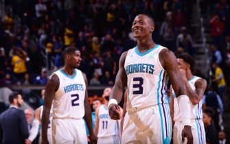 SAN FRANCISCO, CA - NOVEMBER 2:  Terry Rozier #3 of the Charlotte Hornets smiles during game against the Golden State Warriors on November 2, 2019 at ORACLE Arena in Oakland, California. NOTE TO USER: User expressly acknowledges and agrees that, by downloading and or using this photograph, User is consenting to the terms and conditions of the Getty Images License Agreement. Mandatory Copyright Notice: Copyright 2019 NBAE (Photo by Noah Graham/NBAE via Getty Images)