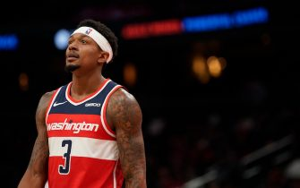 WASHINGTON, DC - NOVEMBER 02: Bradley Beal #3 of the Washington Wizards looks on in the first half against the Minnesota Timberwolves at Capital One Arena on November 2, 2019 in Washington, DC. NOTE TO USER: User expressly acknowledges and agrees that, by downloading and or using this photograph, User is consenting to the terms and conditions of the Getty Images License Agreement. (Photo by Patrick McDermott/Getty Images)