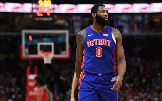CHICAGO, ILLINOIS - NOVEMBER 01:  Andre Drummond #0 of the Detroit Pistons walks backcourt during a game against the Chicago Bulls at United Center on November 01, 2019 in Chicago, Illinois. NOTE TO USER: User expressly acknowledges and agrees that, by downloading and or using this photograph, User is consenting to the terms and conditions of the Getty Images License Agreement. (Photo by Stacy Revere/Getty Images)