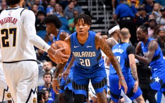 ORLANDO, FL - NOVEMBER 2: Markelle Fultz #20 of the Orlando Magic defends the ball against the Denver Nuggets on November 2, 2019 at Amway Center in Orlando, Florida. NOTE TO USER: User expressly acknowledges and agrees that, by downloading and or using this photograph, User is consenting to the terms and conditions of the Getty Images License Agreement. Mandatory Copyright Notice: Copyright 2019 NBAE (Photo by Fernando Medina/NBAE via Getty Images)