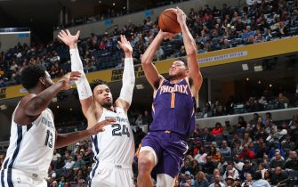 MEMPHIS, TN - NOVEMBER 2: Devin Booker #1 of the Phoenix Suns shoots the ball against the Memphis Grizzlies on November 2, 2019 at FedExForum in Memphis, Tennessee. NOTE TO USER: User expressly acknowledges and agrees that, by downloading and or using this photograph, User is consenting to the terms and conditions of the Getty Images License Agreement. Mandatory Copyright Notice: Copyright 2019 NBAE (Photo by Joe Murphy/NBAE via Getty Images)