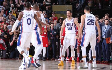 PORTLAND, OR - NOVEMBER 2: Furkan Korkmaz #30 of the Philadelphia 76ers reacts during a game against the Portland Trail Blazers on November 2, 2019 at the Moda Center Arena in Portland, Oregon. NOTE TO USER: User expressly acknowledges and agrees that, by downloading and or using this photograph, user is consenting to the terms and conditions of the Getty Images License Agreement. Mandatory Copyright Notice: Copyright 2019 NBAE (Photo by Sam Forencich/NBAE via Getty Images)