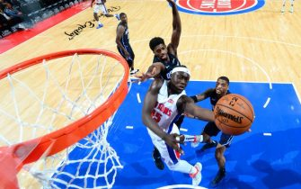 DETROIT, MI - OCTOBER 7: Sekou Doumbouya #45 of the Detroit Pistons shoots the ball against the Orlando Magic during a pre-season game on October 7, 2019 at Little Caesars Arena in Detroit, Michigan. NOTE TO USER: User expressly acknowledges and agrees that, by downloading and/or using this photograph, User is consenting to the terms and conditions of the Getty Images License Agreement. Mandatory Copyright Notice: Copyright 2019 NBAE (Photo by Chris Schwegler/NBAE via Getty Images)