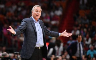 MIAMI, FLORIDA - NOVEMBER 03: Head coach Mike D'Antoni of the Houston Rockets reacts to a call during action against the Miami Heat in the second half at American Airlines Arena on November 03, 2019 in Miami, Florida. NOTE TO USER: User expressly acknowledges and agrees that, by downloading and or using this photograph, User is consenting to the terms and conditions of the Getty Images License Agreement. (Photo by Mark Brown/Getty Images)