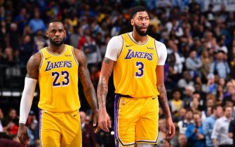 DALLAS, TX - NOVEMBER 1: LeBron James #23, and Anthony Davis #3 of the Los Angeles Lakers looks on against the Dallas Mavericks on November 1, 2019 at the American Airlines Center in Dallas, Texas. NOTE TO USER: User expressly acknowledges and agrees that, by downloading and/or using this Photograph, user is consenting to the terms and conditions of the Getty Images License Agreement. Mandatory Copyright Notice: Copyright 2019 NBAE (Photo by Jesse D. Garrabrant/NBAE via Getty Images)
