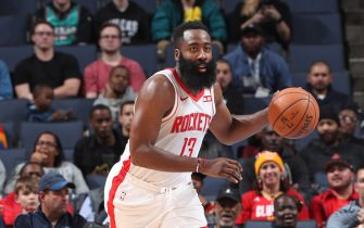 MEMPHIS, TN - NOVEMBER 4: James Harden #13 of the Houston Rockets handles the ball against the Memphis Grizzlies on November 4, 2019 at FedExForum in Memphis, Tennessee. NOTE TO USER: User expressly acknowledges and agrees that, by downloading and or using this photograph, User is consenting to the terms and conditions of the Getty Images License Agreement. Mandatory Copyright Notice: Copyright 2019 NBAE (Photo by Joe Murphy/NBAE via Getty Images)