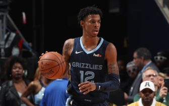 MEMPHIS, TN - NOVEMBER 4: Ja Morant #12 of the Memphis Grizzlies handles the ball against the Houston Rockets on November 4, 2019 at FedExForum in Memphis, Tennessee. NOTE TO USER: User expressly acknowledges and agrees that, by downloading and or using this photograph, User is consenting to the terms and conditions of the Getty Images License Agreement. Mandatory Copyright Notice: Copyright 2019 NBAE (Photo by Joe Murphy/NBAE via Getty Images)