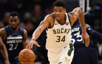 MINNEAPOLIS, MINNESOTA - NOVEMBER 04: Giannis Antetokounmpo #34 of the Milwaukee Bucks dribbles the ball against the Minnesota Timberwolves during the third quarter of the game at Target Center on November 4, 2019 in Minneapolis, Minnesota. The Bucks defeated the Timberwolves 134-106. NOTE TO USER: User expressly acknowledges and agrees that, by downloading and or using this Photograph, user is consenting to the terms and conditions of the Getty Images License Agreement (Photo by Hannah Foslien/Getty Images)