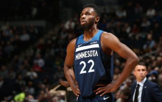 MINNEAPOLIS, MN -  NOVEMBER 4: Andrew Wiggins #22 of the Minnesota Timberwolves looks on during a game against the Milwaukee Bucks on November 4, 2019 at Target Center in Minneapolis, Minnesota. NOTE TO USER: User expressly acknowledges and agrees that, by downloading and or using this Photograph, user is consenting to the terms and conditions of the Getty Images License Agreement. Mandatory Copyright Notice: Copyright 2019 NBAE (Photo by David Sherman/NBAE via Getty Images)
