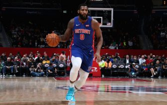 WASHINGTON, DC -  NOVEMBER 4: Andre Drummond #0 of the Detroit Pistons handles the ball against the Washington Wizards on November 4, 2019 at Capital One Arena in Washington, DC. NOTE TO USER: User expressly acknowledges and agrees that, by downloading and or using this Photograph, user is consenting to the terms and conditions of the Getty Images License Agreement. Mandatory Copyright Notice: Copyright 2019 NBAE (Photo by Stephen Gosling/NBAE via Getty Images)