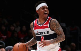 WASHINGTON, DC -  NOVEMBER 4: Isaiah Thomas #4 of the Washington Wizards handles the ball against the Detroit Pistons on November 4, 2019 at Capital One Arena in Washington, DC. NOTE TO USER: User expressly acknowledges and agrees that, by downloading and or using this Photograph, user is consenting to the terms and conditions of the Getty Images License Agreement. Mandatory Copyright Notice: Copyright 2019 NBAE (Photo by Ned Dishman/NBAE via Getty Images)
