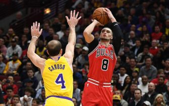 CHICAGO, ILLINOIS - NOVEMBER 05:  Zach LaVine #8 of the Chicago Bulls shoots over Alex Caruso #4 of the Los Angeles Lakers during the second half of a game at United Center on November 05, 2019 in Chicago, Illinois. NOTE TO USER: User expressly acknowledges and agrees that, by downloading and or using this photograph, User is consenting to the terms and conditions of the Getty Images License Agreement. (Photo by Stacy Revere/Getty Images)