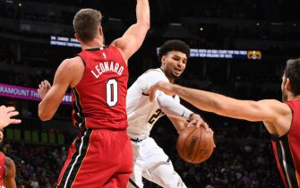 DENVER, CO - NOVEMBER 5: Jamal Murray #27 of the Denver Nuggets passes the ball against the Miami Heat on November 5, 2019 at the Pepsi Center in Denver, Colorado. NOTE TO USER: User expressly acknowledges and agrees that, by downloading and/or using this Photograph, user is consenting to the terms and conditions of the Getty Images License Agreement. Mandatory Copyright Notice: Copyright 2019 NBAE (Photo by Garrett Ellwood/NBAE via Getty Images)