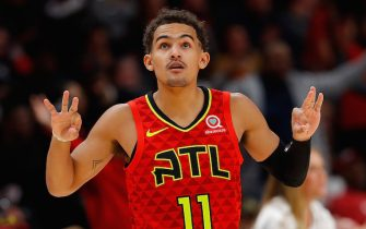 ATLANTA, GEORGIA - NOVEMBER 05:  Trae Young #11 of the Atlanta Hawks reacts after a three-point shot during a foul in the second half against the San Antonio Spurs at State Farm Arena on November 05, 2019 in Atlanta, Georgia.  The three-point shot did not count as the foul was ruled before the shot attempt.  NOTE TO USER: User expressly acknowledges and agrees that, by downloading and/or using this photograph, user is consenting to the terms and conditions of the Getty Images License Agreement.  (Photo by Kevin C. Cox/Getty Images)