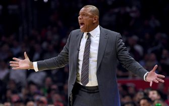 LOS ANGELES, CALIFORNIA - NOVEMBER 06:  LA Clippers coach Doc Rivers reacts to a Giannis Antetokounmpo #34 of the Milwaukee Bucks block during the first half at Staples Center on November 06, 2019 in Los Angeles, California. (Photo by Harry How/Getty Images)  NOTE TO USER: User expressly acknowledges and agrees that, by downloading and or using this photograph, User is consenting to the terms and conditions of the Getty Images License Agreement.