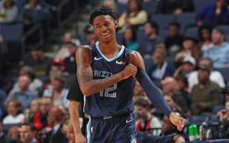 MEMPHIS, TN - NOVEMBER 4: Ja Morant #12 of the Memphis Grizzlies smiles during the game against the Houston Rockets on November 4, 2019 at FedExForum in Memphis, Tennessee. NOTE TO USER: User expressly acknowledges and agrees that, by downloading and or using this photograph, User is consenting to the terms and conditions of the Getty Images License Agreement. Mandatory Copyright Notice: Copyright 2019 NBAE (Photo by Joe Murphy/NBAE via Getty Images)