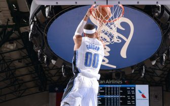 DALLAS, TX - OCTOBER 11: Aaron Gordon #00 of the Orlando Magic dunks the ball against the Dallas Mavericks on October 11, 2019 at the American Airlines Center in Dallas, Texas. NOTE TO USER: User expressly acknowledges and agrees that, by downloading and or using this photograph, User is consenting to the terms and conditions of the Getty Images License Agreement. Mandatory Copyright Notice: Copyright 2019 NBAE (Photo by Glenn James/NBAE via Getty Images)