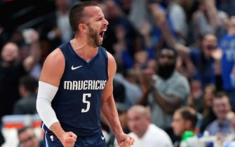 DALLAS, TEXAS - NOVEMBER 06: J.J. Barea #5 of the Dallas Mavericks reacts after scoring against the Orlando Magic in the second period at American Airlines Center on November 06, 2019 in Dallas, Texas. NOTE TO USER: User expressly acknowledges and agrees that, by downloading and or using this photograph, User is consenting to the terms and conditions of the Getty Images License Agreement. (Photo by Tom Pennington/Getty Images)