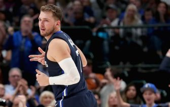 DALLAS, TEXAS - NOVEMBER 06: Luka Doncic #77 of the Dallas Mavericks reacts after scoring against the Orlando Magic in the second half at American Airlines Center on November 06, 2019 in Dallas, Texas. NOTE TO USER: User expressly acknowledges and agrees that, by downloading and or using this photograph, User is consenting to the terms and conditions of the Getty Images License Agreement. (Photo by Tom Pennington/Getty Images)