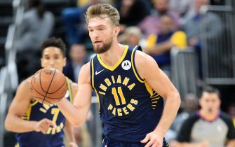 INDIANAPOLIS, INDIANA - NOVEMBER 06:   Domantas Sabonis #11 of the Indiana Pacers dribbles the ball against the Washington Wizards at Bankers Life Fieldhouse on November 06, 2019 in Indianapolis, Indiana.     NOTE TO USER: User expressly acknowledges and agrees that, by downloading and or using this photograph, User is consenting to the terms and conditions of the Getty Images License Agreement. (Photo by Andy Lyons/Getty Images)