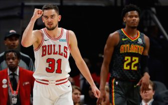 ATLANTA, GEORGIA - NOVEMBER 06:  Tomas Satoransky #31 of the Chicago Bulls reacts after hitting a three-point basket against Cam Reddish #22 of the Atlanta Hawks as time expires to end the first half at State Farm Arena on November 06, 2019 in Atlanta, Georgia.  NOTE TO USER: User expressly acknowledges and agrees that, by downloading and/or using this photograph, user is consenting to the terms and conditions of the Getty Images License Agreement.  (Photo by Kevin C. Cox/Getty Images)