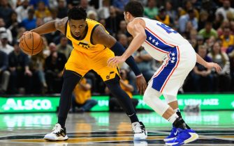 during a game at Vivint Smart Home Arena on November 6, 2019 in Salt Lake City, Utah. NOTE TO USER: User expressly acknowledges and agrees that, by downloading and/or using this photograph, user is consenting to the terms and conditions of the Getty Images License Agreement.