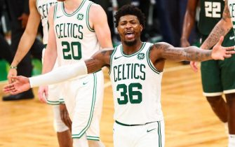 BOSTON, MA - OCTOBER 30:  Marcus Smart #36 of the Boston Celtics reacts in the fourth quarter of a game against the Milwaukee Bucks at TD Garden on October 30, 2019 in Boston, Massachusetts. NOTE TO USER: User expressly acknowledges and agrees that, by downloading and or using this photograph, User is consenting to the terms and conditions of the Getty Images License Agreement. (Photo by Adam Glanzman/Getty Images)