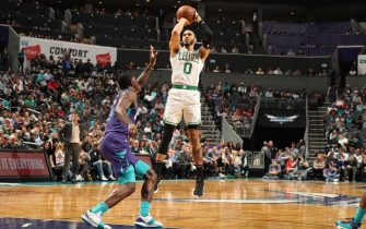 CHARLOTTE, NC - NOVEMBER 7: Jayson Tatum #0 of the Boston Celtics shoots the ball against the Charlotte Hornets on November 7, 2019 at Spectrum Center in Charlotte, North Carolina. NOTE TO USER: User expressly acknowledges and agrees that, by downloading and or using this photograph, User is consenting to the terms and conditions of the Getty Images License Agreement.  Mandatory Copyright Notice:  Copyright 2019 NBAE (Photo by Kent Smith/NBAE via Getty Images)