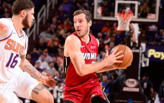 PHOENIX, AZ - NOVEMBER 7: Goran Dragic #7 of the Miami Heat handles the ball against the Phoenix Suns on November 7, 2019 at Talking Stick Resort Arena in Phoenix, Arizona. NOTE TO USER: User expressly acknowledges and agrees that, by downloading and or using this photograph, user is consenting to the terms and conditions of the Getty Images License Agreement. Mandatory Copyright Notice: Copyright 2019 NBAE (Photo by Barry Gossage/NBAE via Getty Images)